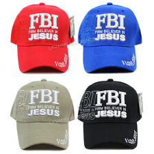 FBI Firm Believer in Jesus Christian Hat Religious Baseball Cap Adjustable Size