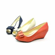 Womens Patent or Matt Bow Toe low wedge heel court shoes