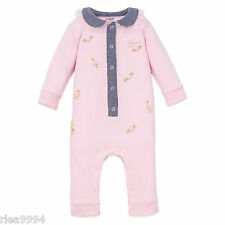 NEW BABY GUESS Girls Footless Coverall Bodysuit in Pink Size 0/3M- 3/6M - 6/9M