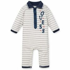 NEW BABY GUESS Boys Long Sleeve Coverall Bodysuit White/Grey 0/3M- 3/6M - 6/9M