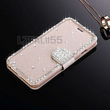 Luxury Bling Crystal Flip Wallet Stand PU Leather Case Cover For Apple iPhone