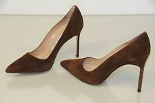 New Manolo Blahnik BB 105  Brown Suede Shoes Pumps Heels 36.5 37