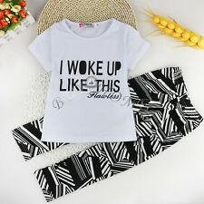 2pcs New Toddler Baby Girl Sports T-shirt Tops+Pants Leggings Outfit Clothes Set