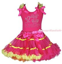 Hot Pink Yellow Rainbow Girls Pettiskirt My 2ND Easter Egg Rabbit Bunny Top 1-8Y