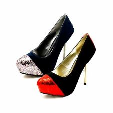Ladies suedette court shoes + glitter toe cap + metal stiletto heel