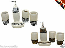 FLORAL STONE Set of 5 Bathroom Set Accessories Soap Dish Dispenser Resin Form