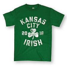St.Pattys Kansas City Distressed Design Clover Shamrock Irish Novelty Men Shirt