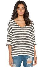 NWT Free People Spells Trouble Knit Sweater Pullover Top Striped Boxy v neck