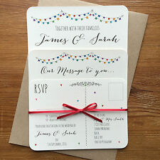 Vintage Bunting Personalised Wedding Invite Day/Evening/RSVP/Menu Ivory Card