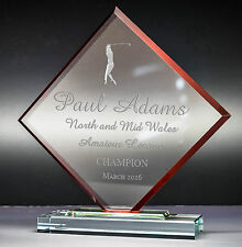 Personalised Cube Jade Glass Golf Award Trophy Red, Laser Engraved Text and Logo