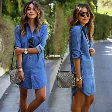 Womens Long Sleeve Loose Denim Mini Dress Casual Long Jean T-Shirt Blouse ES9P
