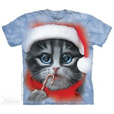 Big Face Xmas Kitty T-Shirt by The Mountain. Christmas Cat Santa Hat, In Stock