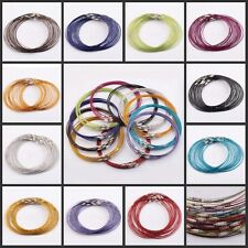 Lots 10/100Pcs 1mm Wire Cable Steel Chain Stainless Charms Cords Necklace 45cm