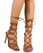 Tan Strappy Lace Up Gladiator High Heel Roman Sandals Peep Toe Womens Shoes