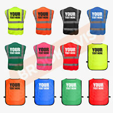 CUSTOM PRINT HI VIZ VIS PERSONALISED WAISTCOAT VEST TABARD SAFETY WORK WEAR