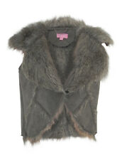 Minoti Brown Fur Sleeveless Waistcoat Gilet Suede Effect with Fur Lining