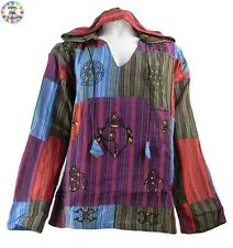 Gringo Cotton Patchwork Hooded Hippy Boho Shirt/Top Red,Purple,Green,Turquoise