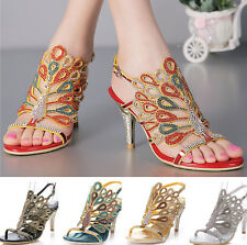 Women Peacock Rhinestone High Heel Wedding Bride Evening Dress Sandal Shoes