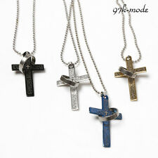 Hot Sale The Bible Cross Ring Necklace Titanium Steel Men's Necklace New LCF