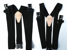 "1 1/2"" & 2"" Black Suspenders - Perry Style Clips"