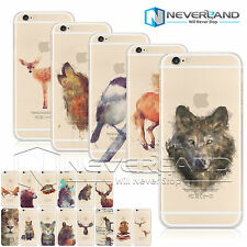 Watercolor Animal Print Soft/Hard Case Cover For iPhone 4/5/6/6s/6plus &Samsung