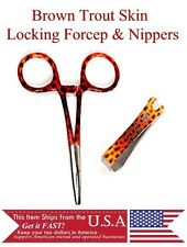 Brown Trout Fly Fishing Fish Skin Lock Forceps Pliers Line Nipper Combo Tools