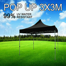 3x3M Black Gazebo Marquee Heavy Duty POP UP Tent Market Outdoor Folding Beach