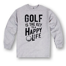 Golf Is The Key To A Happy Life Funny Golfing Sports Humor Novelty Mens LS Shirt