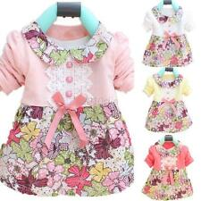 Toddler Baby Girl Floral Princess Dress Doll Collar Bowknot Kids One Piece Dress