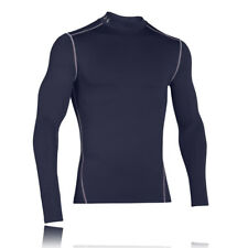 Under Armour Mens Navy Blue Coldgear Long Sleeve Compression Mock Running Top