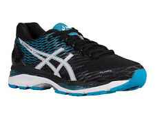 NEW MENS ASICS GEL-NIMBUS 18 RUNNING SHOES TRAINERS BLACK / WHITE / ISLAND BLUE