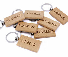 Personalised Wooden Key Ring For Office, Stables, Lock-up Laser Engraved Gift