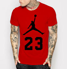 New Michael Jordan Men's T-shirt Fashion Cotton Red with Black Tee Shirt M - 3XL