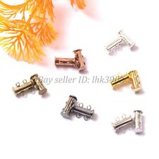 10Sets GOLD & SILVER PLATED,BRONZE,COPPER 2 Strands Magnetic Slide Clasps