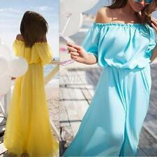 Summer Boho Long Maxi Dress Sexy Off Shoulder Women Beach Party Cocktail Dress