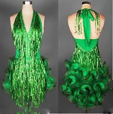 Green  Latin salsa tango Cha cha Competition  Sequined Evening  Dance Dress