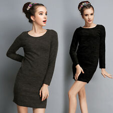 Women Ladies Casual Dress Bodycon Long Sleeve Size 10 12 14 16 18 20 22 24 #2201