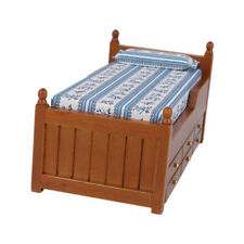 Dolls House Miniature Wooden Bed with Pillow Sheet 1/12 Scale Bedroom Furniture