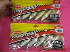 "4 Pack Berkley PowerBait 4"" SwimBait Fishing Lures Swim Bait Shad Choose Colors"
