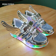 Boys Girls LED Light up children Velcro Sneakers Kids Causal Dance Shoes size 5