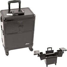 Cro. Black Pro Spinner Aluminum Rolling Artist Beauty Wheeled Train Makeup Case