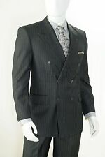 Vittorio St Angelo Men Double Breasted Pin Stripe Modern Fit Suit B662TRS Grey