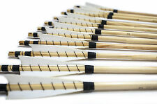 12X White Shield MEDIEVAL Wooden Arrows Handmade Shaft for Bow Archery Practice