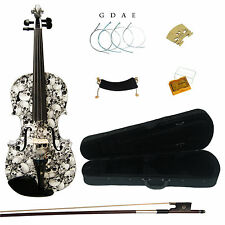 Kinglos 4/4 Black&White Colored Ebony Fitted Solid Wood Violin Kit Full Size