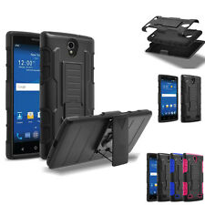 Hybrid Belt Clip Holster Armor Hard Stand Cover Case for ZTE ZMAX 2 2nd Gen Z958