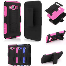 Rugged Armor Hybrid Case Belt Clip Holster Stand Cover For Samsung Galaxy J3