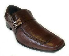 NEW MENS LEATHER DRESS SHOES BUCKLE STRAP LOAFERS SLIP ON  SHOE HORN / BROWN