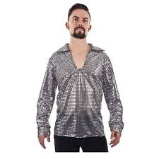 70's Disco DANCE FEVER Nightclub PIMP Silver Sequin Shirt Men's Costume S XL XXL