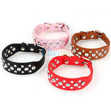 New Rhinestone Pet Dog Buckle Collar Adjustable PU Leather Studded Neck Strap
