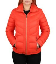 MICHAEL MICHAEL KORS Woman's Orange Down Packable Quilted Puffer Coat Jacket
